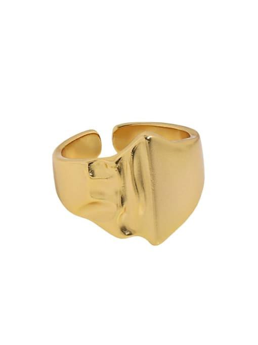Dark gold [13 adjustable] 925 Sterling Silver Irregular Vintage Band Ring